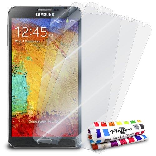 MUZZANO-Set di 3 pellicole di Protezione per Lo Schermo, Ultra Trasparenti, per Telefono e Tablet, Trasparente, Samsung Galaxy Note 3 / N9000