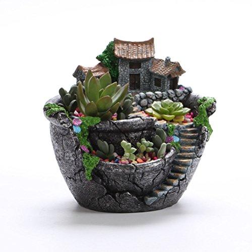 OUNONA Vasi di fiore pianta Fata Vaso da giardino con dolci della casa (argento) - 2