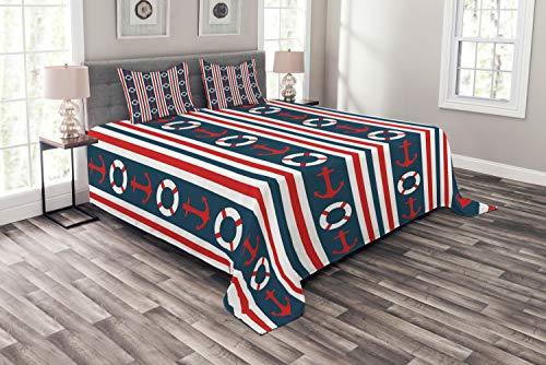 ABAKUHAUS Nautisch Tagesdecke Set, Stripes Maritime Icons, Set mit Kissenbezügen Klare Farben, für Doppelbetten 220 x 220 cm, Indigo Red White