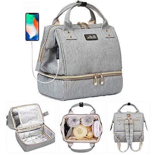 Viedouce Mini Picknicktasche Isolierter,Lunchtasche,Wickelrucksack Wickeltasche,Multifunktional Reise Rucksack für büro camping, USB-Lade Port und 2 x Abnehmbarer Schultergurt(Kleine Größe) -