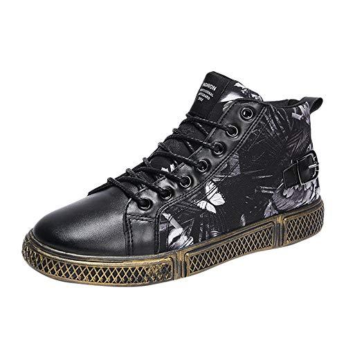 Genli, sneaker a collo alto uomo leather distressed mid, scarpe da ginnastica alte unisex adulto