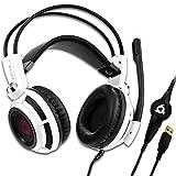 KLIM Puma Cuffie Gaming - Micro Headset da Gaming - Suono Surround 7.1 - Altissima Qualità Audio - Vibrazioni Integrate - Cuffie da Gaming con Microfono - Perfette per PC PS4 Games Blanco - Nuova 2020