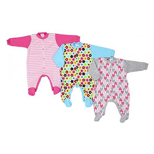 TupTam Unisex Baby Schlafstrampler Baumwolle 3er Pack, Farbe: Mädchen, Größe: 62