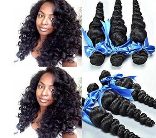 anisches Haar 3 bündelt lose Welle Menschenhaar-Verlängerungen Unverarbeitete natürliche schwarze Farbe für Frauen , 16 18 20 (Halloween-färbung Tischsets)