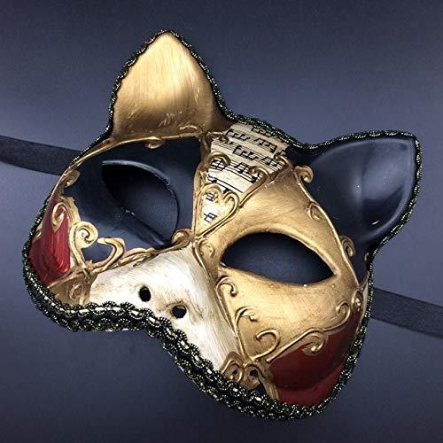 TWELVEMJ Sexy Retro Italien Venezianischen Stil Maskerade Maske Handgemachte Cosplay Katze Half Face Prom Ball Zeigt Partei Maske Für Männer Frauen, Gold schwarz