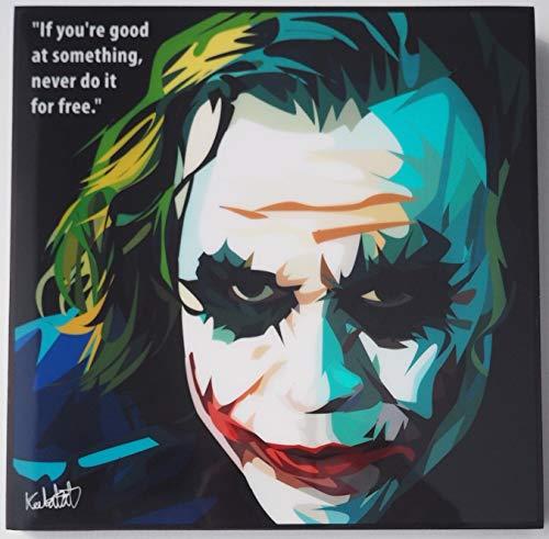 GLAGOODS Joker Heath Ledger Batman Cartoon Pop Art Kunstdruck, gerahmt, Vinyl, Geschenk Zitate