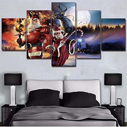 Mddrr Wandbild Modularen Bilder 5 Stück Humor Weihnachten Claus Mond Rentier Malerei Wandkunst Auf Leinwand Hd Print Poster Home Dekorative Wohnzimmer Dekoration