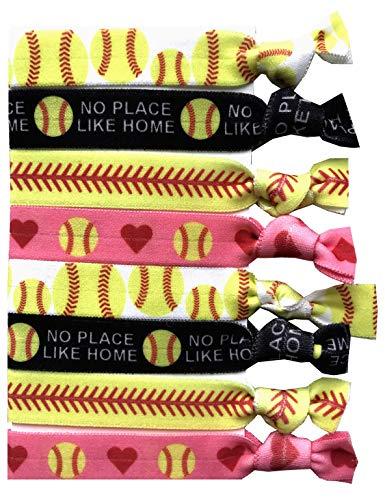 8-teiliges Softball Geschenk Haargummi Set - Geschenke und Zubehör für Spieler, Frauen, Mädchen, Trainer, Teams, High School Softball Teams, Damen Ligen - Made in USA -