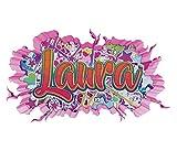 3D Wandtattoo Graffiti Laura Mädchen Name Wand Aufkleber Wanddurchbruch Girl sticker Wandbild Kinderzimmer 11U129, Wandbild Größe F:ca. 47x25cm