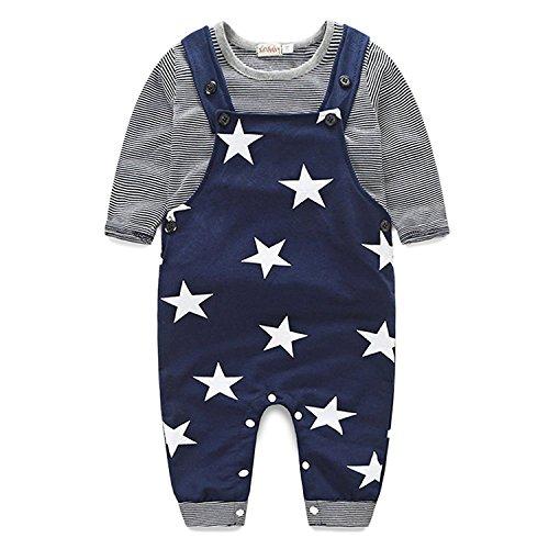 Striped T-shirt Top + Star Bib Pants Set IHRKleid® Tonsee 2er Set Frühling Herbst 2017 Jungen Kinder Bekleidung (98, 3 Jahren, Blau) (Bib Langarm T-shirt)