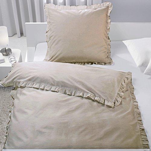 Bettwäsche mit Rüschen 2 teilg 135cm x 200cm Taupe von JEMIDI Bettbezug Bettgarnitur Bett Wäsche Betten Decke Überzug Bezug Set Vintage Retro