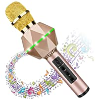 Karaoke Microphones For Kids Wireless Bluetooth Microphone Karaoke With Flash LED, Magic Voice, Aluminum alloy handle, Speaker,Compatible iOS/Android/iPad/PC and All Smartphone(Gold)