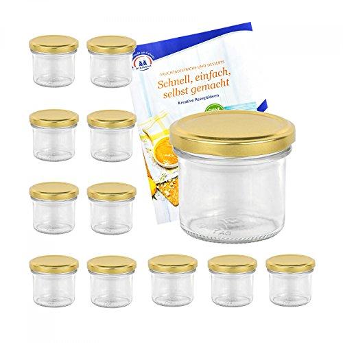 MamboCat 12er Set Sturzgläser 125 ml mit goldenem Deckel to 66 inkl. Diamant Gelierzauber Rezeptheft Marmeladengläser Einmachgläser Einweckgläser