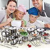 Supertop Rollenspiel Spielzeug - Küche Kochen Pädagogische Lernset, Edelstahl Töpfe Pfannen Kochgeschirr Kochgeschirr Miniatur Spielzeug Für Jungen Mädchen (16sets)
