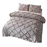 200x230cm Weihnachten Diamond Pintuck Bettwäsche Set, Luxus 3 Stück Bettbezug Set mit Kissenbezug (Grau, 200x230cm)
