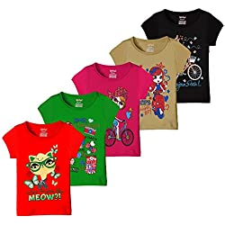 Kiddeo Girls T shirts (Pack of 5)(01)(11-12 Years)