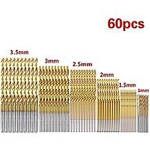 Cymax 60pcs HSS Micro Bohrer Set 1/1,5/2/2,5/3/3,5mm Titanium Metallbohrer Spiralbohrer Bohrersets Werkzeuge