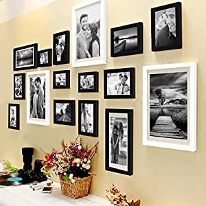 Painting Mantra Set Of 16 Individual Black And White Photo Frame,(3 Units Of 8X10, 4 Units Of 6X8, 4 Units Of 5X7, 3 Units Of 4X6, 2 Units Of 6X10)