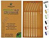 GREEN STAR Premium Glas Strohhalme 6 Stück - wiederverwendbar, Bunte Spitzen, gebogen, 23 cm, spülmaschinenfest, handgefertigt - Trinkhalm Set für Cocktail, Smoothie, Tee, usw. + Reinigungsbürste