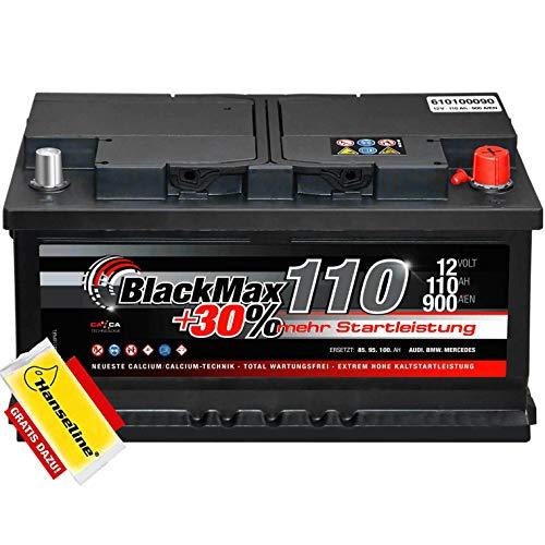 Autobatterie 12V 110Ah BlackMax 30{c71f003b9f3c77475adc4cdde5d9bd1854413dc50267e815ef7151784ab9ac81} mehr Startkraft statt 88Ah 90Ah 95Ah 100Ah inklusive Polfett