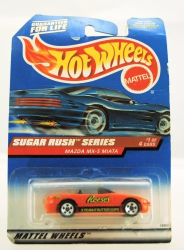 Hot Wheels - 1998 Sugar Rush Series - Mazda MX-5 Miata - Reese's Peanut Butter Cups Paint - 1 of 4 - Die Cast - Limited Edition - Collectible