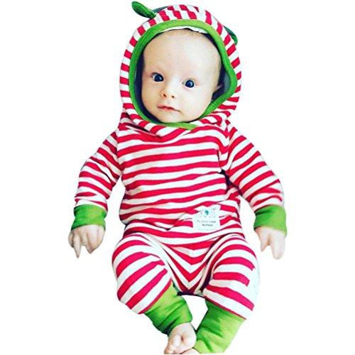Baby Kleider Set Hirolan Junge Mädchen Gestreift Kapuzenpullover Tops + Hosen (90cm, (Halloween Top 10 Machen Leicht Kostüme Zu)