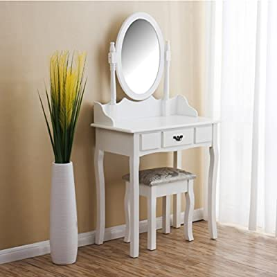 CherryTree Furniture Dressing Table Makeup Dresser Set with Cushioned Stool Oval Mirror - cheap UK light store.