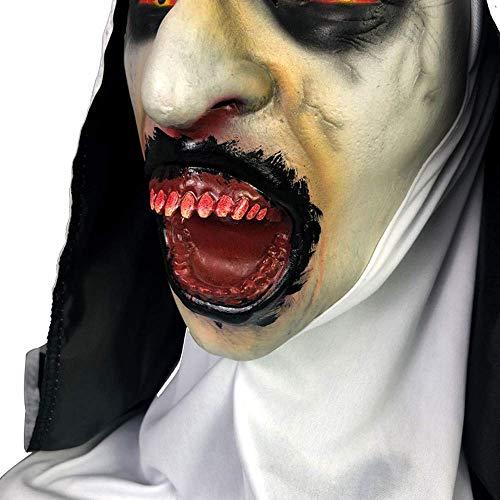 MU Maskerade Halloween Creepy Scary Cosplay Kostüm Maske Latex Horror für Unisex Erwachsene Party Dekoration Requisiten Ghost Devil Dancing Kopfbedeckung,Nonne - Kostüm Zeichen Für Verkauf