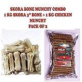#9: Skora Bone and Munchy Chew Sticks Combo (3-inch Raw Hide Bones, 500 g and Chicken Munchy Chew Sticks, 500 g)