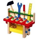 """Werkbank """"Profi"""" aus Holz, mit Lineal, Schlitzschraubenzieher, Hammer und Schraubenschlüssel, fördert die Motorik und Geschicklichkeit des Kindes, ab 3 Jahren"""