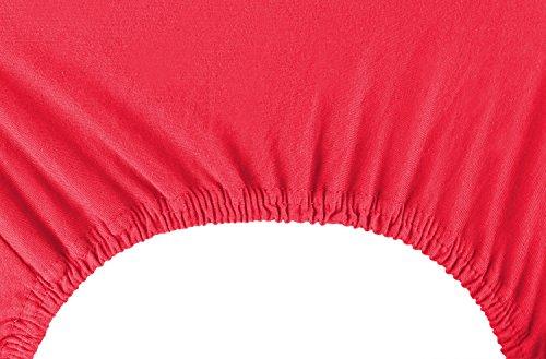 DecoKing 19009 80x200-90x200 cm Spannbettlaken rot 100% Baumwolle Jersey Boxspringbett Spannbetttuch Bettlaken Betttuch red Nephrite Collection - 6