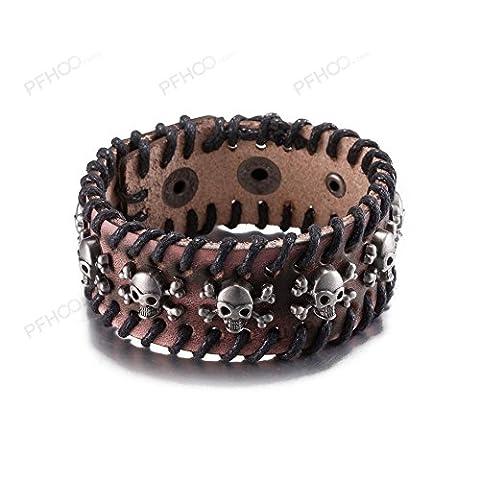 Fashion Retro Leather Cowhide Bracelet,Antique Silver Plated