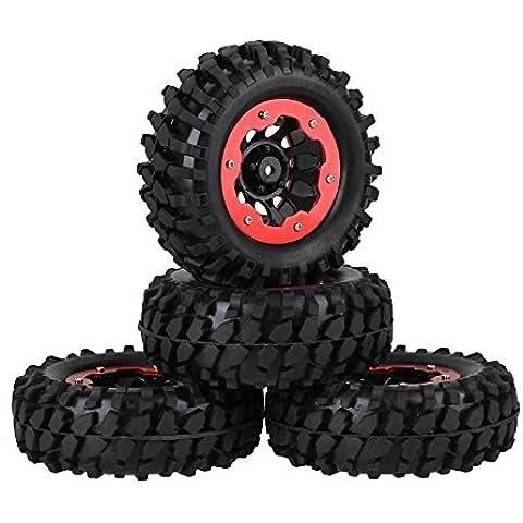 Youzone RC 1:10 Rock Crawler Coche Negro modelo de la grava del neumático de goma y de plástico Negro 10 hoyos con llanta de la rueda de aleación de Red Beadlock (paquete de