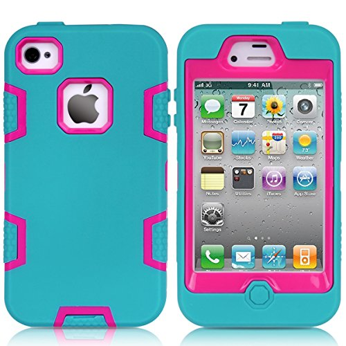 Casefirst iPhone 4 4s Case, Excellence Protects Case for iPhone 4 4s, Protects Protects Bumper Resistance to Shock for iPhone 4 4s (Blue + Hot Pink) (Iphone Für Case Carry 4s)