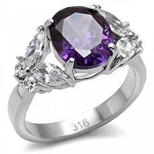 ISADY - Pieretta - Damen Ring - Edelstahl - Zirkonium Lila amethyst