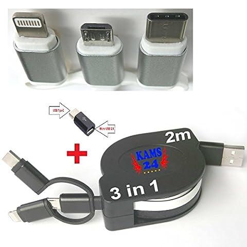 2m 3in1 USB-Ladekabel ausziehbares Roll Up Datenkabel Sync Micro USB