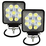 Auxtings 2 luces antiniebla de trabajo 27W LED Light Bar Spot Montaje de luces de antiniebla 2700LM IP67 Impermeable para Off-Road,Camión,Coche,ATV,SUV,Barco(2PCS)