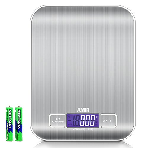AMIR Digitale Küchenwaage, 5000g x 1g Briefwaage, Digitalwaage Professionelle Waage, Electronische Waage, Küchenwaage, Briefwaage mit 6 Wiegeeinheiten, Tara-Funktion, LCD-Display, Auto-Off