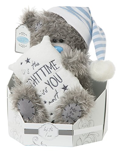 Me to You SG01W4109 Plüschtier Tatty Teddy, Motiv: It's the night time I miss you most, sitzender Bär, 22,9 cm