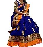 Nirdharit Lifestyle Cotton Silk Saree (Saree for women_Blue_Free Size)