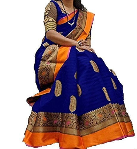 Nirdharit Lifestyle Cotton Silk Saree (Saree for women_Blue_Free Size)