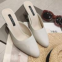 ZHAOXIANGXIANG Baotou Heels Semi Trailers Minimalist Wild Fashion Lazy High-Heeled Slippers
