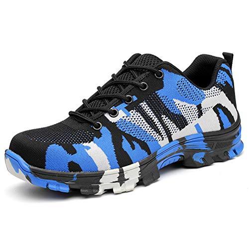 BAOLESEM Sicherheitsschuhe Herren Arbeitsschuhe Damen S3 Sportlich Leicht Atmungsaktiv Schutzschuhe Stahlkappe Schuhe, 04 Blau, 45 EU