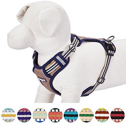 Blueberry Pet Geschirre 56cm-68cm Brust 3M Reflektierende Ultimative Sicherheit Zugentlastende Netz Gepolsterte Hundegeschirr Weste in Olive und Blau-Grau, Passendes Halsband Separat Erhältlich