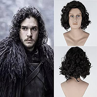 THATSYOU Cosplay Wig A Song of Ice and Fire Game of Thrones Jon Snow Cosplay wig Black wig Party Halloween Carnival for men Masquerade Cosplay Anime Wig