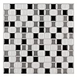 """Ecoart Wall Tile Stickers Peel and Stick Self-Adhesive Wall Tile with Mosaic Effect for Kitcheh Bathroom Backsplash Black Grey White 10"""" X 10"""" Pack of 6"""