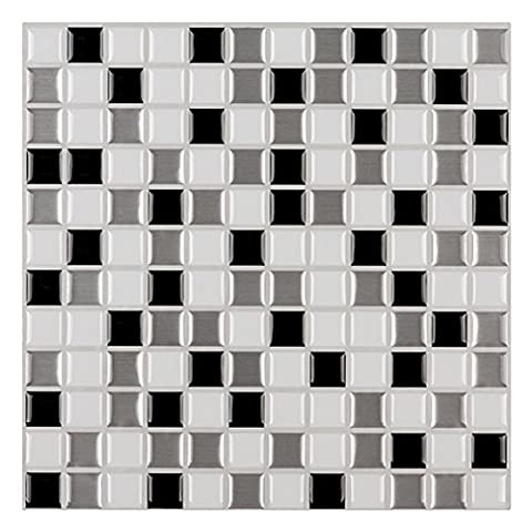 Ecoart Wall Tile Stickers Peel and Stick Self-Adhesive Wall Tile with Mosaic Effect for Kitcheh Bathroom Backsplash Black Grey White 10