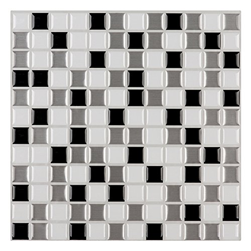 "Ecoart Wall Tile Stickers Peel and Stick Self-Adhesive Wall Tile with Mosaic Effect for Kitcheh Bathroom Backsplash Black Grey White 10"" X 10"" Pack of 6"