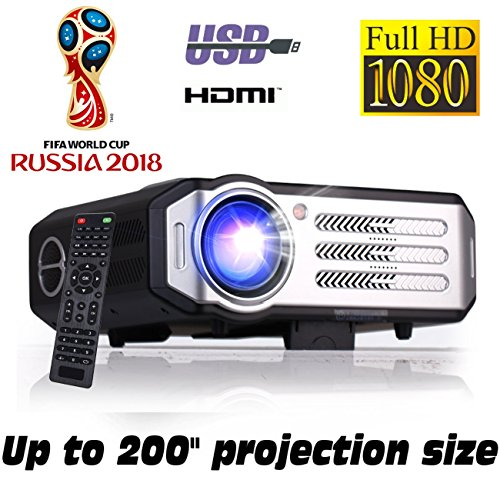 Proyector Full HD 1080P, XSAGON(2018 Nuevo modelo)Proyectores 2200LMS (3500 LED) Lúmenes Portátil Proyectores LED, LCD 1920x1080 max, 4400:1 Contraste, 2 HDMI, VGA, 2 USB, para PS4, Xbox One, Nintendo Switch, PC, Bluray