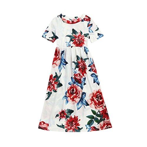 (Mode Kleinkind Baby Mädchen Kind Blumendruck Prinzessin Party Kleid Outfits Kleidung)